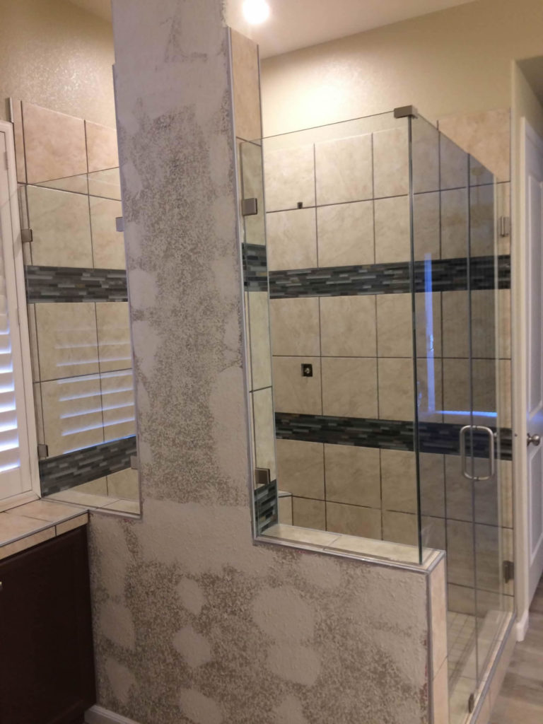 Frameless Shower Enclosure 2 x 180 degree return fixed panels with glass to tile clamps Jamuary 2019